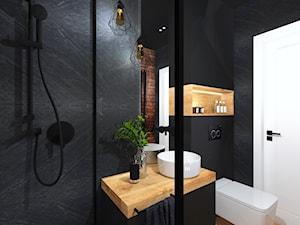 Łazienka 11 - Średnia czarna łazienka w bloku w domu jednorodzinnym bez okna, styl industrialny - zdjęcie od Anna Romik Architektura Wnętrz