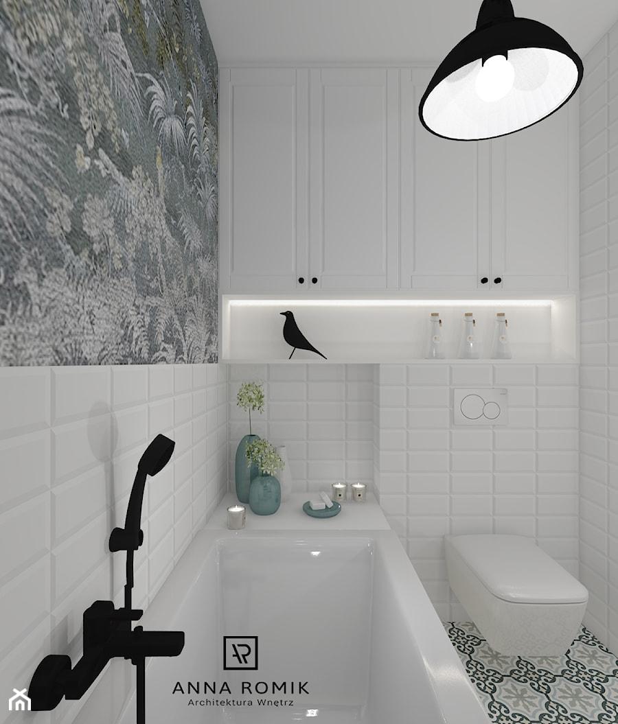Łazienka 12 - Średnia łazienka w bloku w domu jednorodzinnym bez okna, styl skandynawski - zdjęcie od Anna Romik Architektura Wnętrz