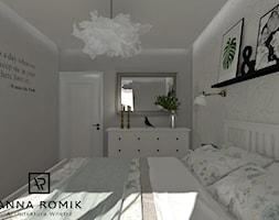 Sypialnia - Mała biała szara sypialnia małżeńska, styl skandynawski - zdjęcie od Anna Romik Architektura Wnętrz