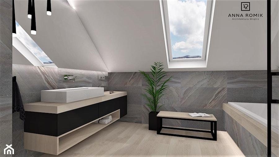 Łazienka 16 - Średnia łazienka na poddaszu w domu jednorodzinnym z oknem, styl nowoczesny - zdjęcie od Anna Romik Architektura Wnętrz