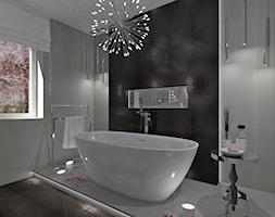 Łazienka 14 - Średnia brązowa szara łazienka w domu jednorodzinnym jako salon kąpielowy z oknem, styl glamour - zdjęcie od Anna Romik Architektura Wnętrz
