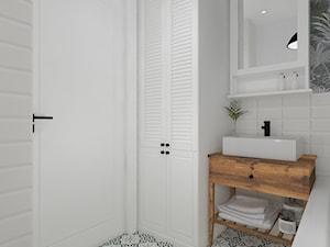 Łazienka 12 - Średnia biała łazienka w bloku w domu jednorodzinnym bez okna, styl skandynawski - zdjęcie od Anna Romik Architektura Wnętrz