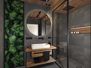 Łazienka 4 - Mała szara łazienka na poddaszu w bloku w domu jednorodzinnym bez okna, styl industrialny - zdjęcie od Anna Romik Architektura Wnętrz