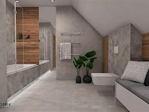 Łazienka 8 - Duża beżowa szara łazienka na poddaszu w domu jednorodzinnym bez okna, styl skandynawski - zdjęcie od Anna Romik Architektura Wnętrz