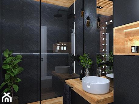 Aranżacje wnętrz - Łazienka: Łazienka 11 - Mała czarna łazienka w bloku w domu jednorodzinnym bez okna, styl industrialny - Anna Romik Architektura Wnętrz. Przeglądaj, dodawaj i zapisuj najlepsze zdjęcia, pomysły i inspiracje designerskie. W bazie mamy już prawie milion fotografii!