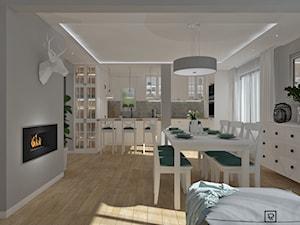 Salon z kuchnią 4 - Średnia otwarta szara kuchnia jednorzędowa w aneksie z oknem, styl skandynawski - zdjęcie od Anna Romik Architektura Wnętrz