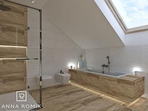 Łazienka 32 - Średnia biała łazienka na poddaszu w domu jednorodzinnym z oknem, styl skandynawski - zdjęcie od Anna Romik Architektura Wnętrz