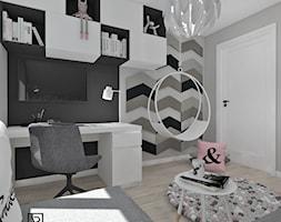 Pokój dziecięcy 4 - Średni biały czarny pokój dziecka dla dziewczynki dla ucznia dla nastolatka, styl nowoczesny - zdjęcie od Anna Romik Architektura Wnętrz
