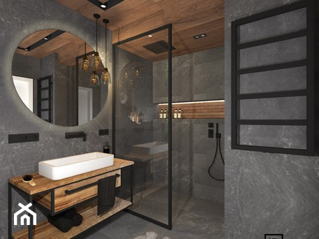 Aranżacje wnętrz - Łazienka: Łazienka 4 - Średnia łazienka w bloku w domu jednorodzinnym bez okna, styl industrialny - Anna Romik Architektura Wnętrz. Przeglądaj, dodawaj i zapisuj najlepsze zdjęcia, pomysły i inspiracje designerskie. W bazie mamy już prawie milion fotografii!