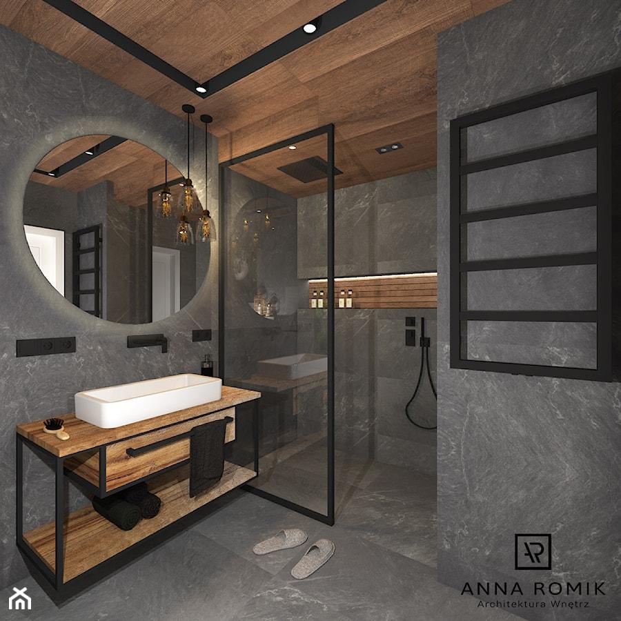 Łazienka 4 - Średnia łazienka w bloku w domu jednorodzinnym bez okna, styl industrialny - zdjęcie od Anna Romik Architektura Wnętrz