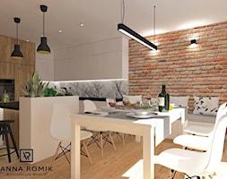 Kuchnia - Duża kuchnia w kształcie litery l w aneksie z wyspą z oknem, styl skandynawski - zdjęcie od Anna Romik Architektura Wnętrz
