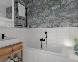 Łazienka 12 - Mała biała zielona łazienka w bloku w domu jednorodzinnym bez okna, styl skandynawski - zdjęcie od Anna Romik Architektura Wnętrz