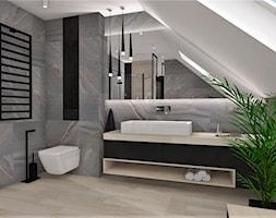 Łazienka 16 - Duża łazienka na poddaszu w domu jednorodzinnym z oknem, styl nowoczesny - zdjęcie od Anna Romik Architektura Wnętrz