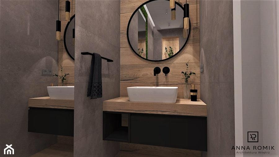 Aranżacje wnętrz - Łazienka: Łazienka 9 - Mała łazienka w bloku w domu jednorodzinnym bez okna, styl nowoczesny - Anna Romik Architektura Wnętrz. Przeglądaj, dodawaj i zapisuj najlepsze zdjęcia, pomysły i inspiracje designerskie. W bazie mamy już prawie milion fotografii!