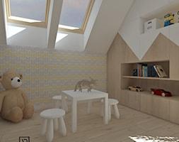 Pokój dziecięcy 3 - Mały biały szary żółty pokój dziecka dla chłopca dla dziewczynki dla ucznia dla malucha, styl skandynawski - zdjęcie od Anna Romik Architektura Wnętrz