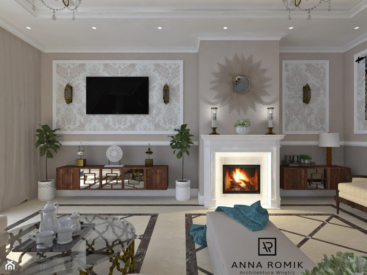 Salon - Średni biały beżowy salon, styl klasyczny - zdjęcie od Anna Romik Architektura Wnętrz - Homebook