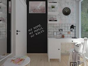 Pokój dziecięcy 5 - Mały szary czarny pokój dziecka dla chłopca dla dziewczynki dla ucznia dla nastolatka, styl skandynawski - zdjęcie od Anna Romik Architektura Wnętrz