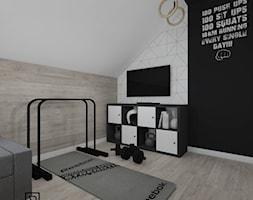 Pokój nastolatka - Mały biały beżowy czarny pokój dziecka dla chłopca dla dziewczynki dla nastolatka, styl nowoczesny - zdjęcie od Anna Romik Architektura Wnętrz