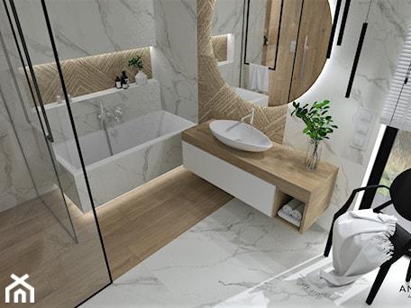 Aranżacje wnętrz - Łazienka: Łazienka 25 - Średnia biała łazienka z oknem, styl nowoczesny - Anna Romik Architektura Wnętrz. Przeglądaj, dodawaj i zapisuj najlepsze zdjęcia, pomysły i inspiracje designerskie. W bazie mamy już prawie milion fotografii!