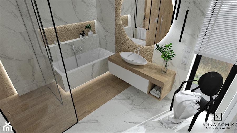 Łazienka 25 - Średnia biała łazienka z oknem, styl nowoczesny - zdjęcie od Anna Romik Architektura Wnętrz