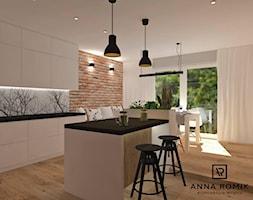 Kuchnia - Duża otwarta szara kuchnia w kształcie litery l w aneksie z wyspą z oknem, styl skandynawski - zdjęcie od Anna Romik Architektura Wnętrz