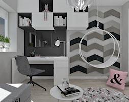 Pokój dziecięcy 4 - Mały biały szary pokój dziecka dla dziewczynki dla ucznia dla nastolatka, styl nowoczesny - zdjęcie od Anna Romik Architektura Wnętrz
