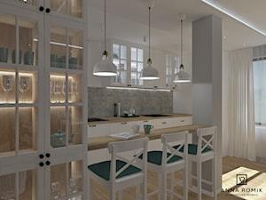 Salon z kuchnią 4 - Średnia otwarta biała kuchnia jednorzędowa z wyspą z oknem, styl skandynawski - zdjęcie od Anna Romik Architektura Wnętrz