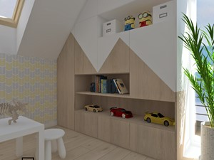 Pokój dziecięcy 3 - Mały biały kolorowy pokój dziecka dla chłopca dla dziewczynki dla ucznia dla malucha, styl skandynawski - zdjęcie od Anna Romik Architektura Wnętrz