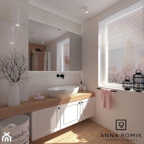 Łazienka 2 - Mała szara łazienka na poddaszu w bloku w domu jednorodzinnym z oknem, styl nowoczesny - zdjęcie od Anna Romik Architektura Wnętrz