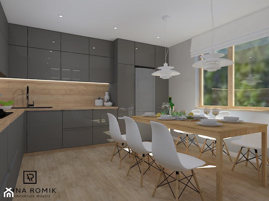 Kuchnia 4 - Duża otwarta beżowa szara kuchnia w kształcie litery l z oknem, styl skandynawski - zdjęcie od Anna Romik Architektura Wnętrz