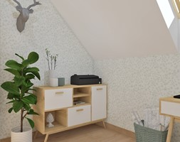 Biuro domowe - Małe białe biuro kącik do pracy na poddaszu, styl skandynawski - zdjęcie od Anna Romik Architektura Wnętrz