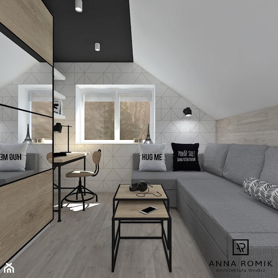 Pokój nastolatka - Mały biały szary beżowy pokój dziecka dla chłopca dla dziewczynki dla ucznia dla nastolatka, styl nowoczesny - zdjęcie od Anna Romik Architektura Wnętrz
