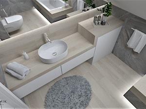 Łazienka 26 - Średnia biała czarna łazienka na poddaszu w domu jednorodzinnym z oknem, styl nowoczesny - zdjęcie od Anna Romik Architektura Wnętrz
