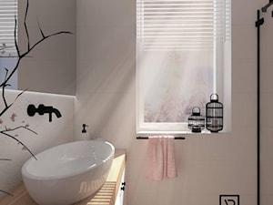 Łazienka 2 - Mała szara łazienka w bloku w domu jednorodzinnym z oknem, styl skandynawski - zdjęcie od Anna Romik Architektura Wnętrz
