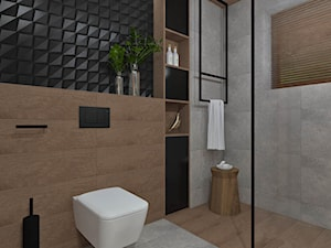 Łazienka 13 - Średnia czarna szara łazienka w bloku w domu jednorodzinnym bez okna, styl nowoczesny - zdjęcie od Anna Romik Architektura Wnętrz