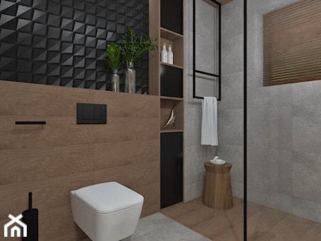 Aranżacje wnętrz - Łazienka: Łazienka 13 - Średnia czarna szara łazienka w bloku w domu jednorodzinnym bez okna, styl nowoczesny - Anna Romik Architektura Wnętrz. Przeglądaj, dodawaj i zapisuj najlepsze zdjęcia, pomysły i inspiracje designerskie. W bazie mamy już prawie milion fotografii!