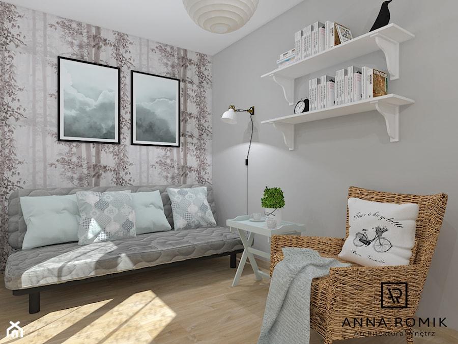 Pokój - Średnia szara sypialnia dla gości małżeńska, styl skandynawski - zdjęcie od Anna Romik Architektura Wnętrz