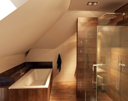 Łazienka na poddaszu w dwóch odsłonach - Średnia beżowa łazienka na poddaszu w domu jednorodzinnym z oknem, styl nowoczesny - zdjęcie od New Concept Design