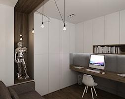 Dom w Myszkowie - Małe szare biuro domowe kącik do pracy w pokoju, styl nowoczesny - zdjęcie od New Concept Design