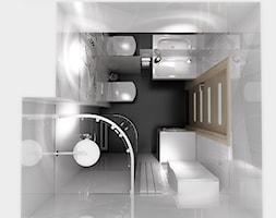 łazienka w bieli - Mała łazienka w bloku bez okna, styl nowoczesny - zdjęcie od New Concept Design