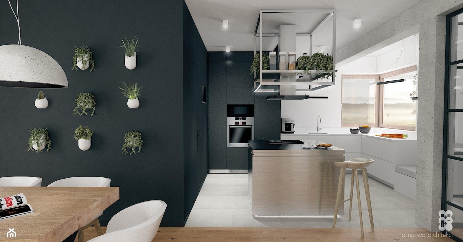 BRZEG DOLNY_projekt - Mała średnia otwarta kuchnia w kształcie litery l z wyspą, styl industrialny - zdjęcie od NA NO WO ARCHITEKCI - Homebook