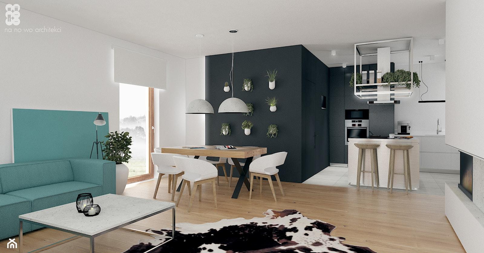 BRZEG DOLNY_projekt - Średnia otwarta biała czarna jadalnia w kuchni w salonie, styl skandynawski - zdjęcie od NA NO WO ARCHITEKCI - Homebook