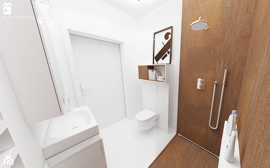 BRZEG DOLNY_projekt - Średnia biała łazienka na poddaszu w bloku w domu jednorodzinnym bez okna, styl nowoczesny - zdjęcie od NA NO WO ARCHITEKCI
