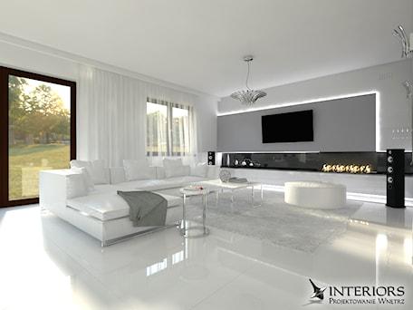 Salon - Duży szary biały salon z tarasem / balkonem, styl nowoczesny - zdjęcie od Zieja Interiors Design