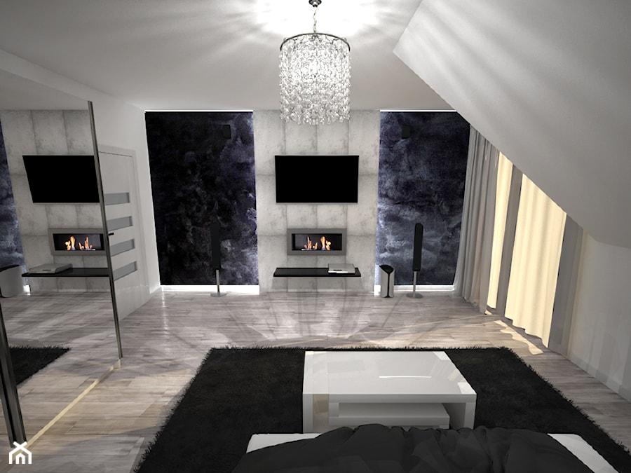 Aranżacje wnętrz - Sypialnia: Sypialnia - Średnia kolorowa sypialnia małżeńska na poddaszu, styl nowoczesny - Zieja Interiors Design. Przeglądaj, dodawaj i zapisuj najlepsze zdjęcia, pomysły i inspiracje designerskie. W bazie mamy już prawie milion fotografii!