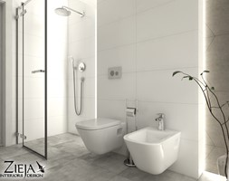Łazienka Romby - Średnia biała szara łazienka, styl nowoczesny - zdjęcie od Zieja Interiors Design - Homebook