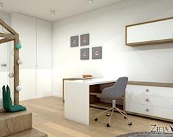 Pokój Ali - Duży biały pokój dziecka dla chłopca dla dziewczynki dla ucznia dla nastolatka, styl no ... - zdjęcie od Zieja Interiors Design - Homebook