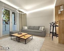 Mieszkanie Singielki - Średni biały salon z jadalnią z tarasem / balkonem, styl nowoczesny - zdjęcie od Zieja Interiors Design - Homebook