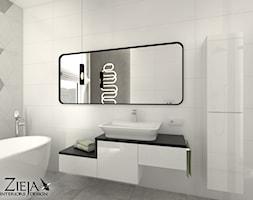 Łazienka Romby - Średnia łazienka w bloku w domu jednorodzinnym z oknem, styl nowoczesny - zdjęcie od Zieja Interiors Design - Homebook