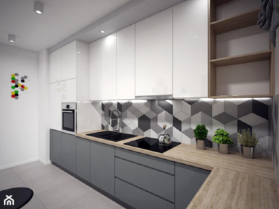 Kuchnia 1 - Średnia biała szara kuchnia w kształcie litery l, styl nowoczesny - zdjęcie od Zieja Interiors Design